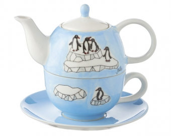 Pinguine Mila Tea for one Pinguin Teeservice - Teekanne 0,4 L mit Tasse und Untertasse + Geschenkverpackung