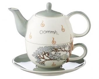 Mila Oommh Pure Relax -Tea for one Yoga Katze - Teekanne 0,4 L mit Tasse und Untertasse + Geschenkverpackung