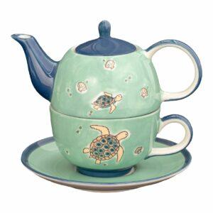 Mila Ocean Love Tea for one - Schildkröte Teekanne 0,4 L mit Tasse und Untertasse + Geschenkverpackung