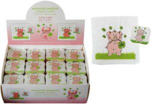 Magisches Handtuch - Zauberhandtuch Gästetuch Schwein Lucky - Baumwolle 30 x 30 cm