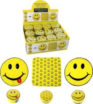 Magisches Handtuch Smile - Smiley Zauberhandtuch Gute Laune, Baumwolle 30 x 30 cm