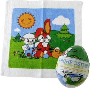 Zauberei Magisches Handtuch - Zauberhandtuch Osterei - Motiv Schaf, Hase, Küken, Ei - Baumwolle 30 x 30 cm