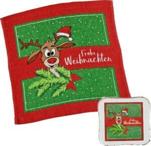 Magisches Handtuch Elch Didi - Zauberhandtuch Rentier, Baumwolle 30 x 30 cm