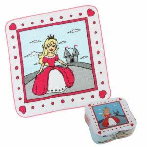 Magisches Handtuch - Zauberhandtuch Prinzessin mit Schloß, Baumwolle Gästehandtuch 30 x 30 cm