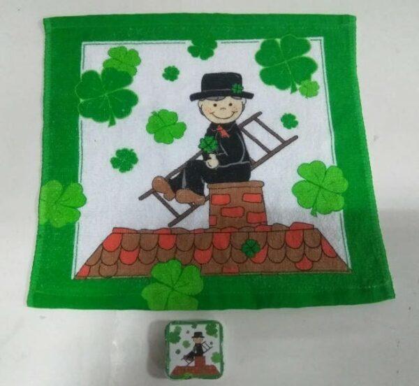 Magisches Handtuch Schornsteinfeger - Zauberhandtuch Gästetuch Glücksbringer - Baumwolle 30x30cm