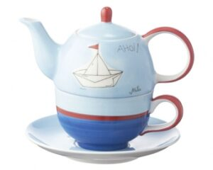 Mila Ahoi Tea for one - maritime Teekanne + Tasse mit Untertasser