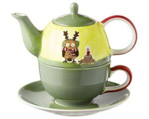 Mila Eule - Ich wär so gern ein Elch - Tea for one - Teekanne 0,4 L mit Tasse und Untertasse + Geschenkverpackung
