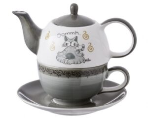 Mila Oommh Pure Yoga Katze - Tea for one - Teekanne 0,4 L mit Tasse und Untertasse + Geschenkverpackung - Keramik