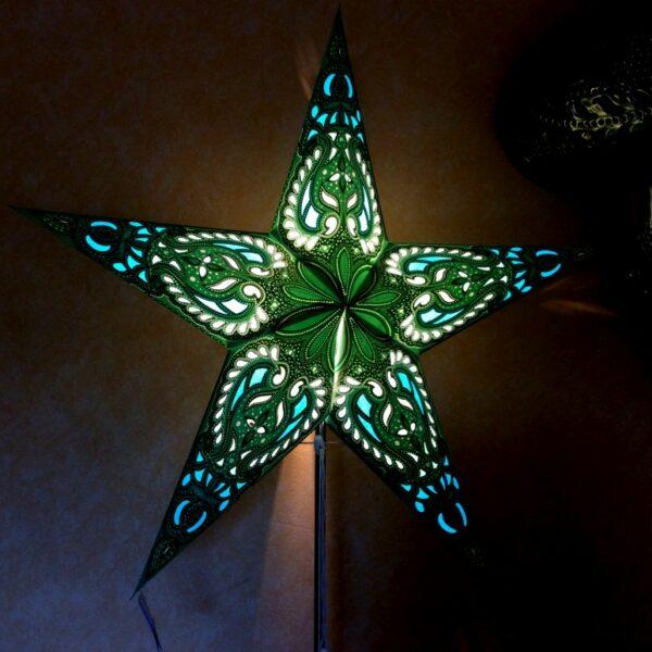 ALDEBARAN grün mit Magnetverschluss - Papiersterne mit orientalischem Muster Leuchtsterne 60 cm