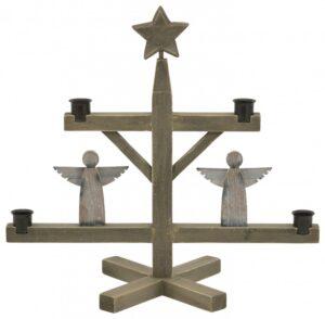 Advent Kerzenhalter für 4 Kerzen aus Holz mit Engeln und Stern - Adventskerzenhalter