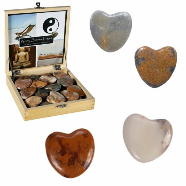 Anti-Stress-Stein-Herzen in einer Holzschatulle