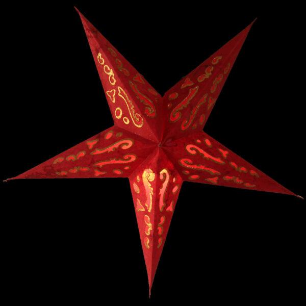 Baby Curves Rot Glitzer Magnetverschluß- Papiersterne mit orientalischem Muster Rot Glitzer Leuchtsterne 40 cm s