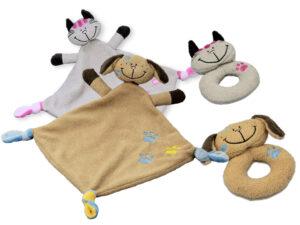 Baby Kuscheltier - Babyrassel Schnuffeltuch als Katze oder Hund