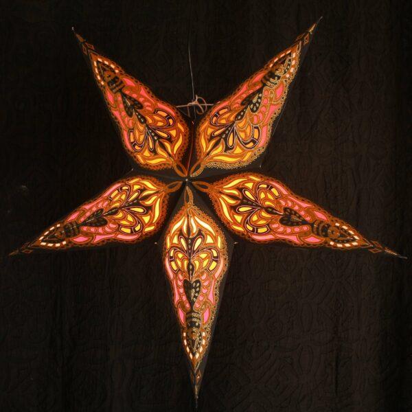 Baby SUMITA Schwarz-Orange Magnetverschluß - Papiersterne mit orientalischem Muster Leuchtsterne 40 cm