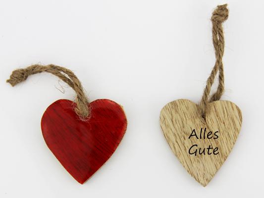 Beispiel -Alles Gute Holz Herz rot zum hängen - Herz zum Beschriften - Geschenkanhänger