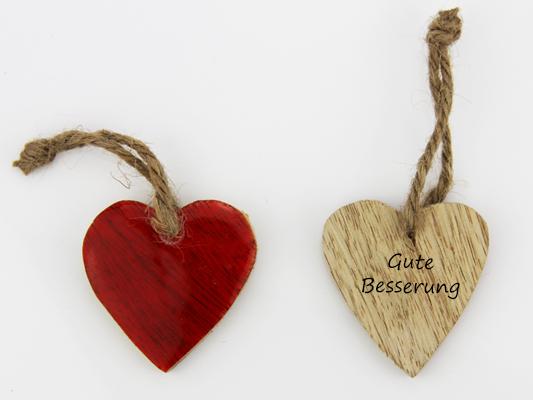 Beispiel -Gute Besserung Holz Herz rot zum hängen - Herz zum Beschriften - Geschenkanhänger