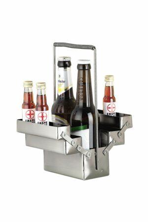 Bier Flaschenhalter Werkzeugkasten Metall Skulptur