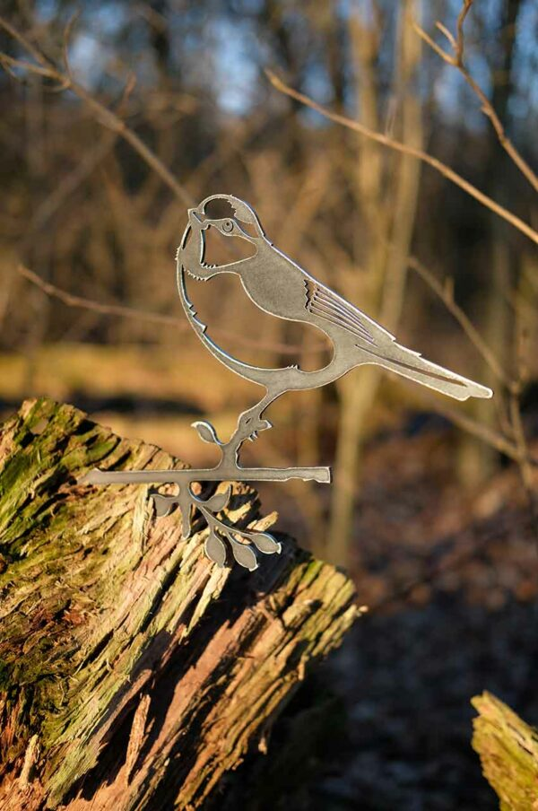 Blaumeise Gartendekoration Metall Vogel Stecker - Baumstecker Glücksvogel Gartenstecker