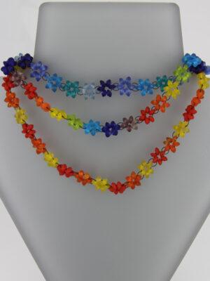 Blumen Halskette - kurz - verschiedene Farbmixe