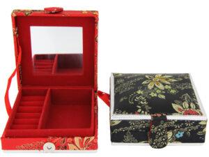 Blumen Schmuckkasten mit Spiegel - rote oder schwarze Schmuckschatulle
