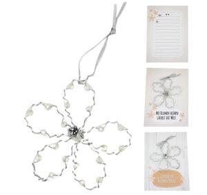 Blumenkarte - persönliche Grußkarte mit einer Drahtblume..