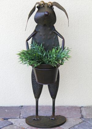 Blumentopfhalter Hund Hajo – stehend mit Metallübertopf