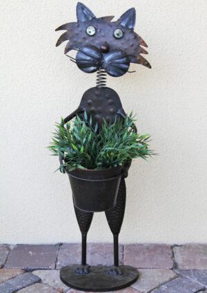 Blumentopfhalter mit Metallübertopf Katze Käthe – stehend Tophalter Katze Blume.