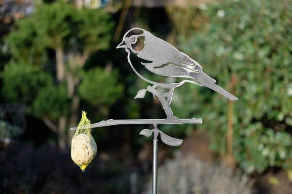 Buchfink Gartendekoration Metall Vogel Stecker - Baumstecker Glücksvogel Gartenstecker