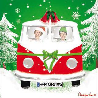 Bulli Weihnachtskarte VW Bus - Klappkarte mit Umschlag