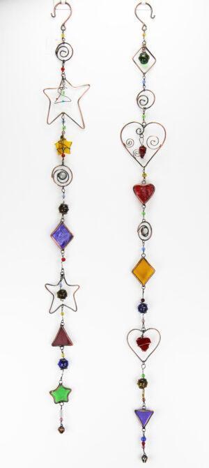 Bunte Glas Fensterkette - Kupfer Metall mit Herzen oder Sterne