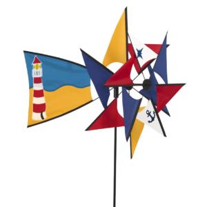 Leuchtturm Windspiel Duett maritim - Windmill 66 Lighthouse - doppeltes Windrad - Windmühle 360 ° drehend