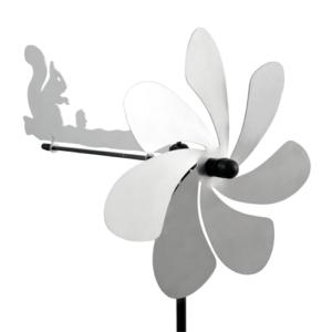 Silhouette Eichhörnchen Windspiel - Orbit Windrad Edelstahl mit Windrichtungsanzeiger - Made in Germany