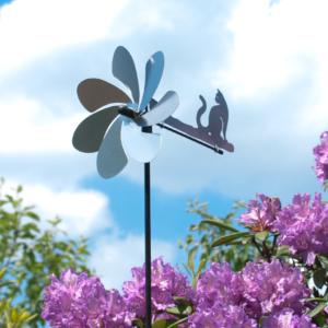 Silhouette KATZE Windspiel - Orbit Windrad Edelstahl mit Windrichtungsanzeiger - Made in Germany