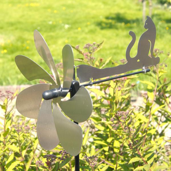 Silhouette KATZE - Orbit Windspiel Windrad Edelstahl mit Windrichtungsanzeiger - Made in Germany
