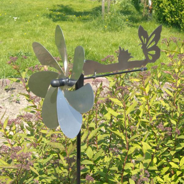 Silhouette Schmetterling Edelstahl Windspiel - Motiv Windrad mit Ruder - Made in Germany