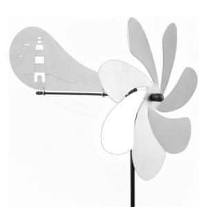 Ventura LEUCHTTURM Windspiel - Orbit Windrad Edelstahl mit Windrichtungsanzeiger