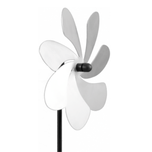 Edelstahl Windrad Blume silber - Orbit Flower Windspiel Blüte - Made in Germany - Indoor - Outdoor - wartungsfrei