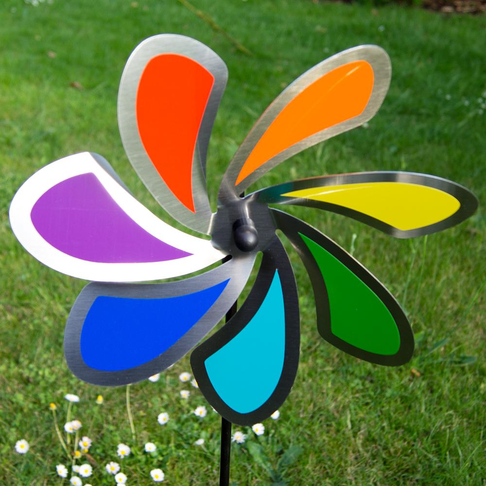 Edelstahl windrad blume 28 solid rainbow orbit windspiel for Edelstahl gartendekoration