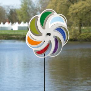 Edelstahl Windrad Blume 28 Mond Rainbow - Orbit Windspiel - Made in Germany - Indoor - Outdoor - wartungsfrei