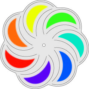 Edelstahl Windrad Blume -OrbitWindspiel Mondblume Rainbow - Made in Germany - Indoor - Outdoor - wartungsfrei
