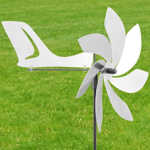 gartenstecker windspiel edelstahl, jet aero - orbit windspiel edelstahl windrad flugzeug mit windrichtung, Design ideen