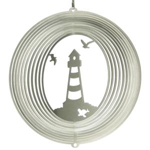Martim Windspiel Leuchtturm Mobile mit Möwen - Küste Windspirale Ringe Edelstahl 180mm