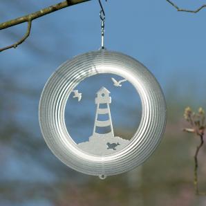 Windspiel Leuchtturm Mobile Spirale Ringe Edelstahl 180mm - Martim - Küste - Möwen