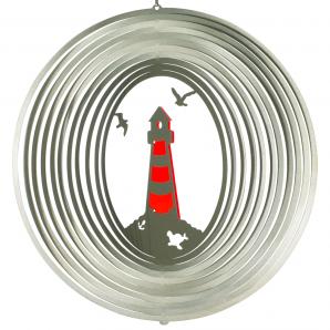 Windspiel Leuchtturm Mobile Edelstahl, lichtreflektierend, 300mm - Martim - Küste - Möwen
