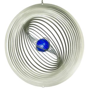 Edelstahl Windspiel STRUDEL 300 - lichtreflektierend - Durchmesser: 30cm - inkl. Aufhängung und Glaskugel-Feng-Shui