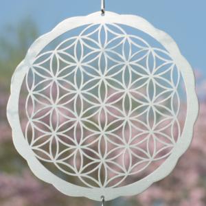 Blume des Lebens 200 - Edelstahl Hängedekoration Lebensblume Windspiel