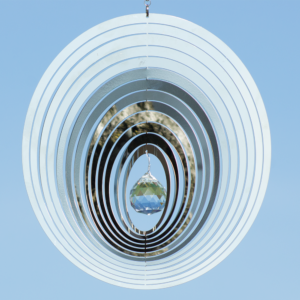 MIRROR CRYSTAL OVAL 200 - Mobile Spirale Ringe Edelstahl Hochglanz poliert 200 mm mit Kristallglaskugel, Kugellagerwirbel und Haken
