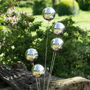 Design Edelstahl Silber Kugel Fächer Gartenstecker MIRROR 5K - Beetstecker mit 5 Edelstahlkugeln