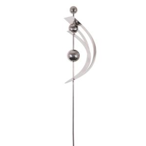 Design Edelstahl Gartenstecker MIRROR 3K - Edelstahlstehle Spange mit drei Kugeln