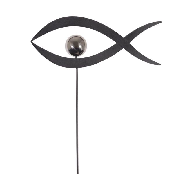 Edelstahl Gartenstecker Fisch - MIRROR 1K Schiefer Fisch L